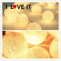 2.5m 20pcs Cotton Balls Warm White LED Strings Fairy LIGHTS Fabric Creamy Xmas Wedding Party Romantic Decoration Lamp Bulb. HOT
