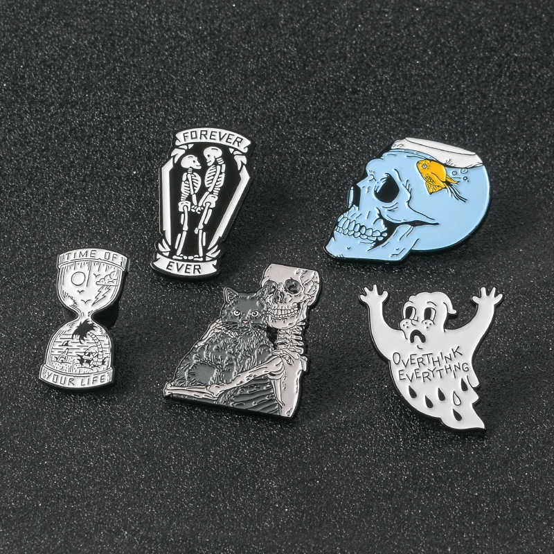 Halloween Party Gift Punk Gothic Dark Zand Klok Zand Glas Skeleton Paar Schedel Zombie Aquarium Enamel Broches Pins