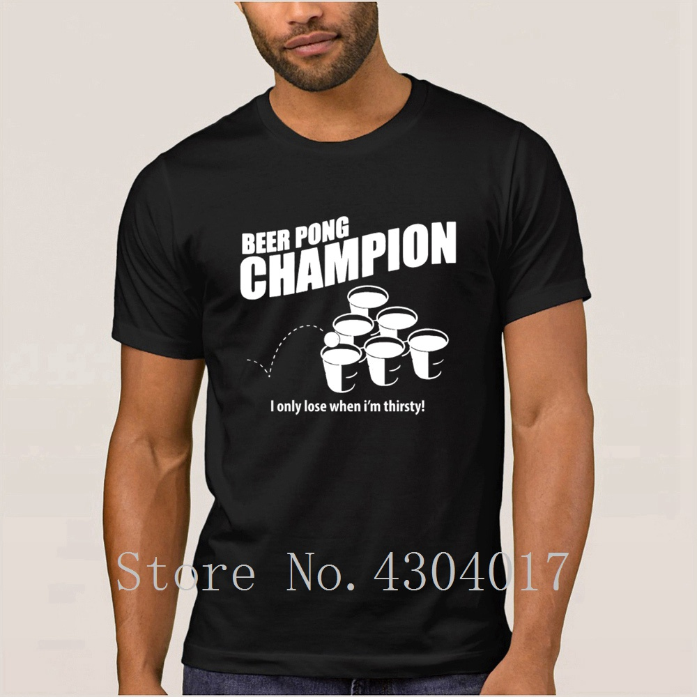 Beer Pong Champion Tshirt Round Collar Novelty Fit Men 39 s T Shirt Sunlight Camiseta Shirt Plus Size 3xl Awesome Top Tee in T Shirts from Men 39 s Clothing