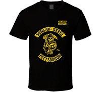 2017 fashionT-Shirt Bandit Sons of Steel Pittsburgh Steelers Kurtyny SOa Reaper Piłkarz bawełny O-Neck T Shirt