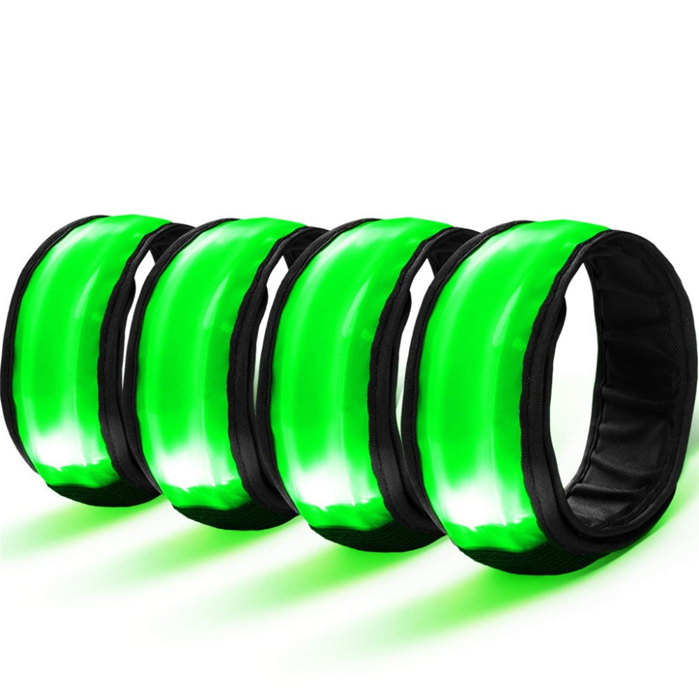 4PC Sport LED Flashing Light Up Glow Wristband Safety Reflector Bracelet Party Props Gift Gym Light Lamp For Running Cycling P4