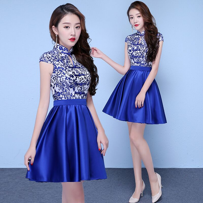Vintage Chinese Style Mini Cheongsam Wedding Dress Retro Sexy Summer Slim Gown Marriage Qipao Party Evening