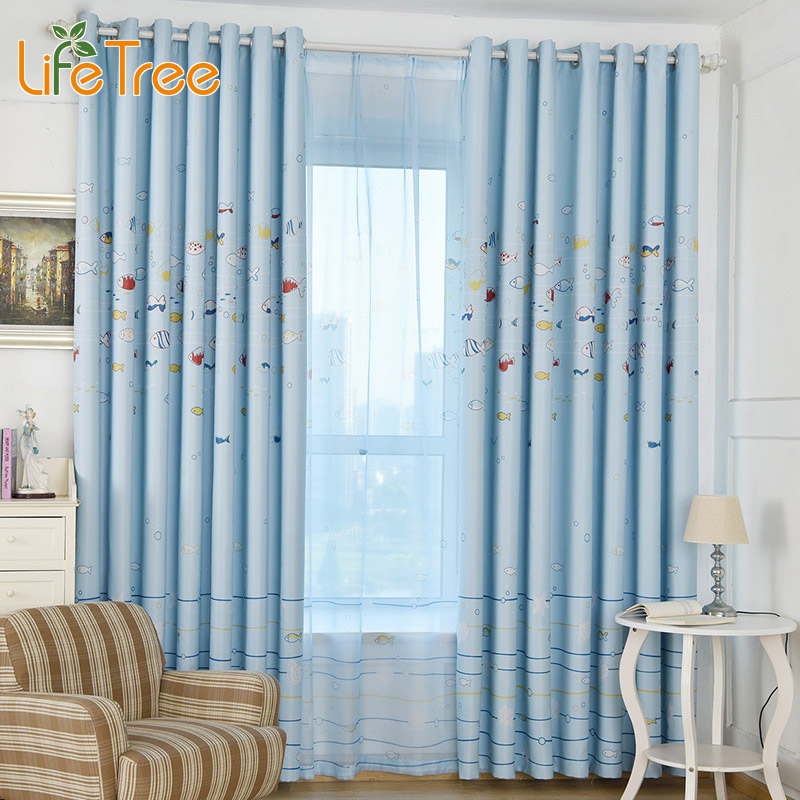 1 Pc Children Curtains For Kids Room Fish Printed Tulle And Drapes In Study Room Custom Made Blinds And Sheer