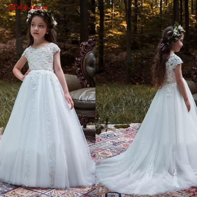 White   Flower     Girl     Dresses   for Weddings Tulle Party Flowergirl First Pageant Communion   Dresses   2018