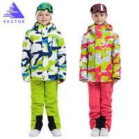 VECTOR Brand Boys Girls Ski Suits Warm Waterproof Children Skiing Snowboarding Jackets Pants Winter Kids Child