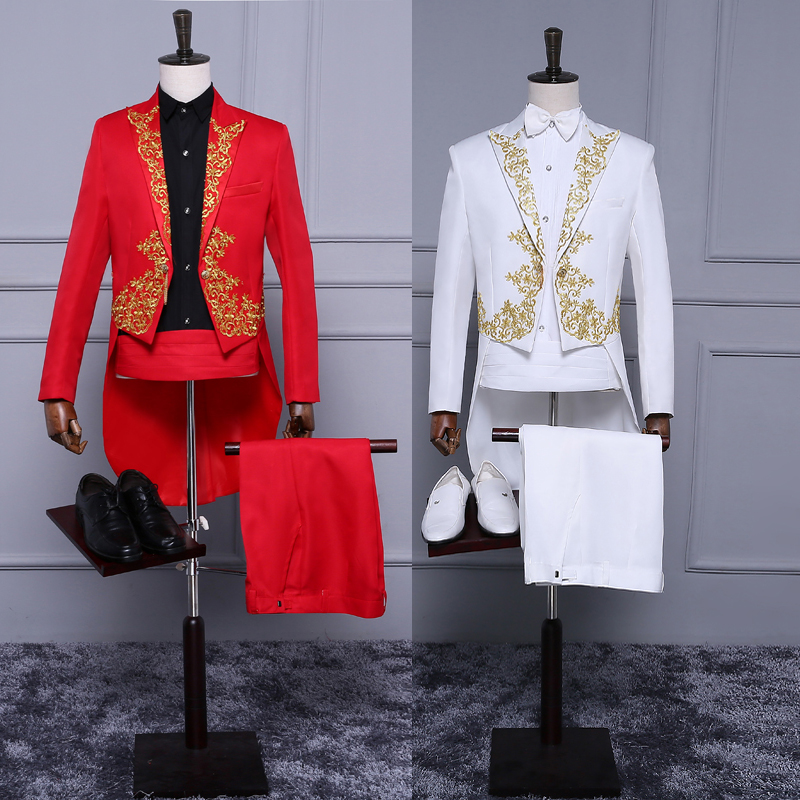 Red and black and white golden embroidery tuxedo suit party chorus performance conductor clothing host mens dress