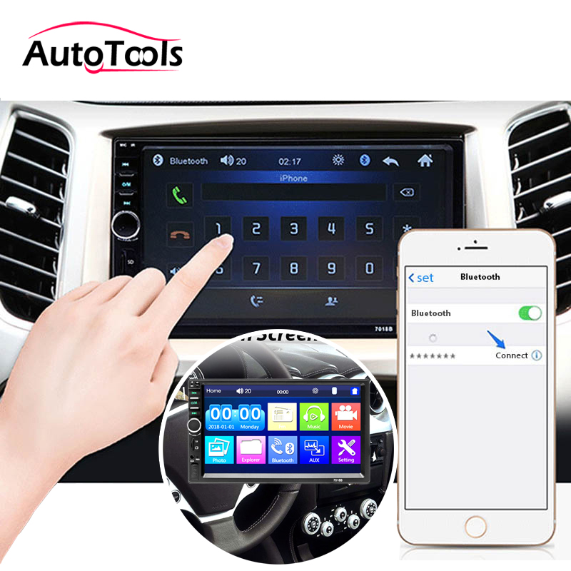 <font><b>2Din</b></font> Bluetooth Car radio player 7 inch Touch Screen MP5 multimedia Car Audio Rear View Camera <font><b>7018B</b></font> car accessories image