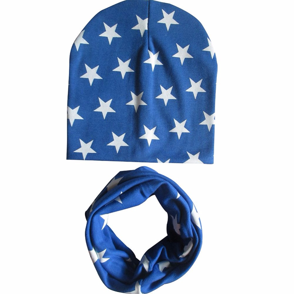 Fashion Christmas Cotton Baby Cute Hats Scarf Set Boys Girls Star Printed Cap +Scarf Sets Kids Infant Children Baby Hats
