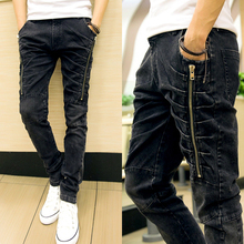 Spring 2015 New Stylish Men's Dark Grey Long Faker Zipper and Pleated Designer Jeans,Slim Fit Denim Pencil Cotton Jeans Pants