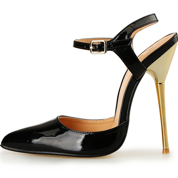 ФОТО 2017 New Lady Sandals High Heel 14cm Stiletto Heel Women Shoes Sexy Ankle Strap Fashion Lady High Heel Sandals Plus Size 40-49