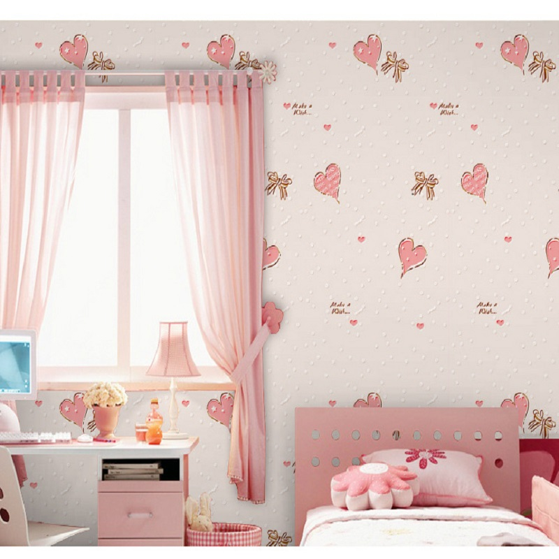 Self Adhesive Wallpapers Heart shape Wallcoverings Vintage decal for kid room wallpaper &Wall Paper papel de parede 5 Meter