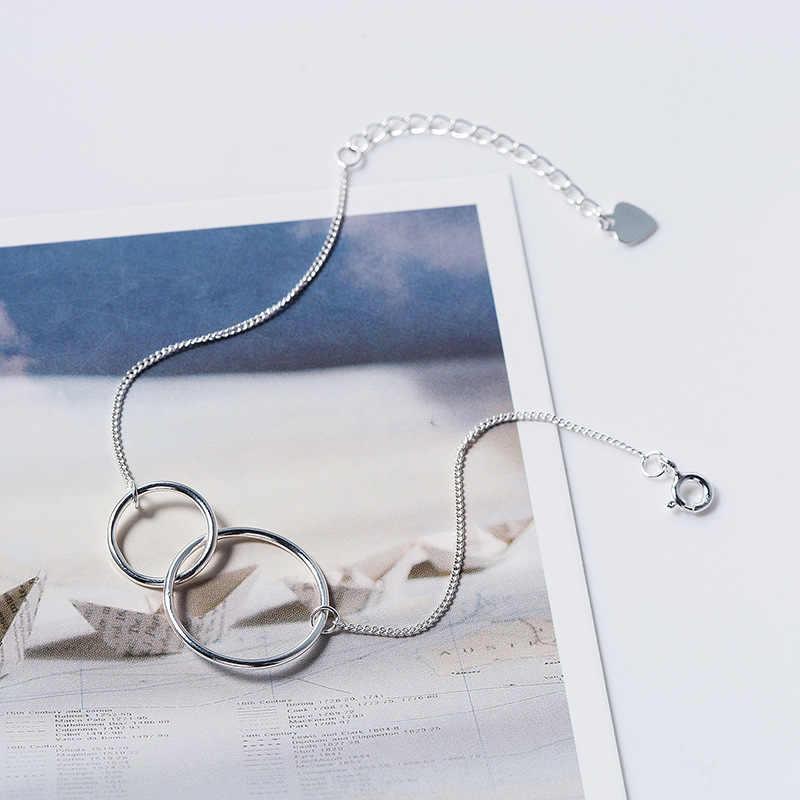 Inzatt Nyata 925 Sterling Silver Minimalis Geometris Bulat Punk Gelang Fine Perhiasan untuk Wanita Pesta Trendi Aksesoris Hadiah
