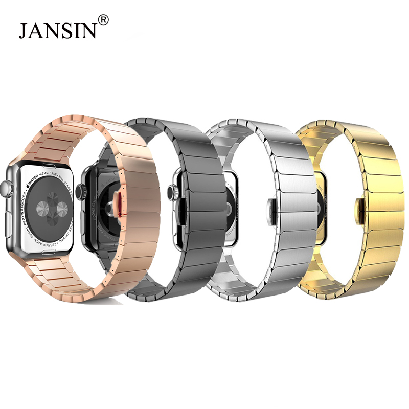 JANSIN Link Bracelet For Apple Watch Band 42mm 38mm 44mm 40mm Stainless Steel Strap Metal Watch Band For Iwatch Series 5 4 3 2 1
