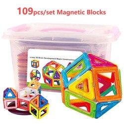 109 PCS Tamanho Grande Designer de Construção Magnético Blocos Ímã 3D Modelagem Conjunto & Buillding Brinquedos Para Crianças Presentes para Crianças