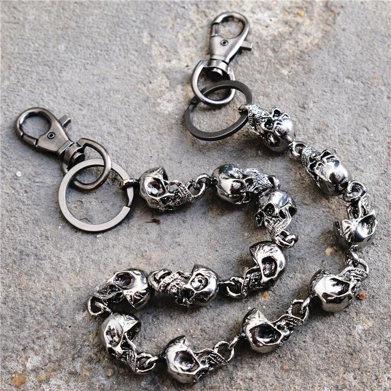 Men's Motorcyle KeyChain Jean Biker Wallet Belts Chain Skull Charm Gothic Rock Skull Pants Trousers Waist Key Men's  BL48