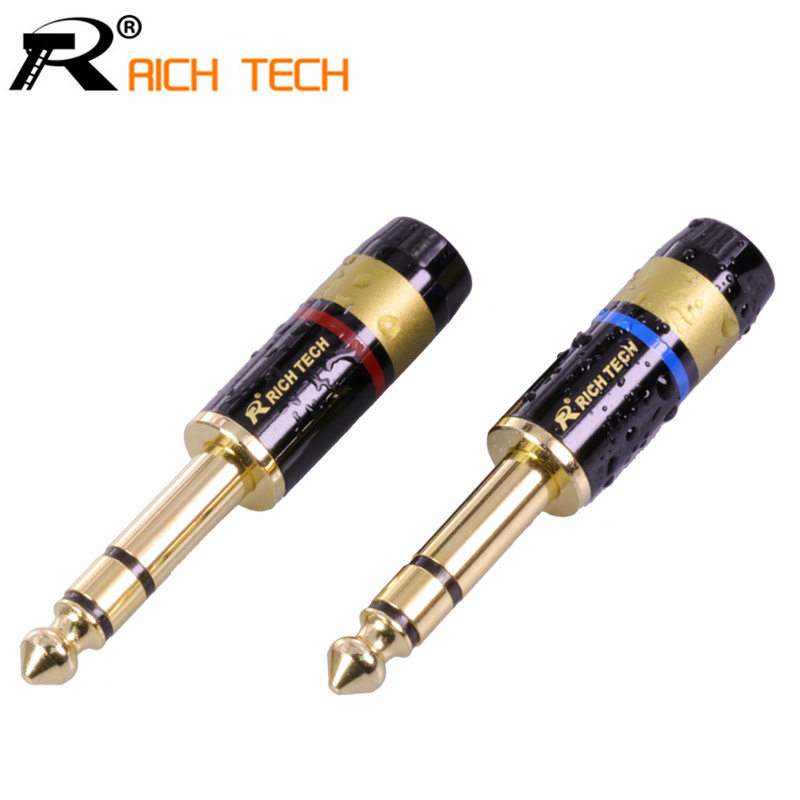 1pair/2pcs 3 pole Jack 6.35 Speaker Plug Gold-plated Audio Connector 6.35mm stereo Jack Assembly Microphone wire connector 10pcs 3 5mm stereo headset plug jack 4 pole 3 5 mm audio plug jack adapter connector length 17 00mm