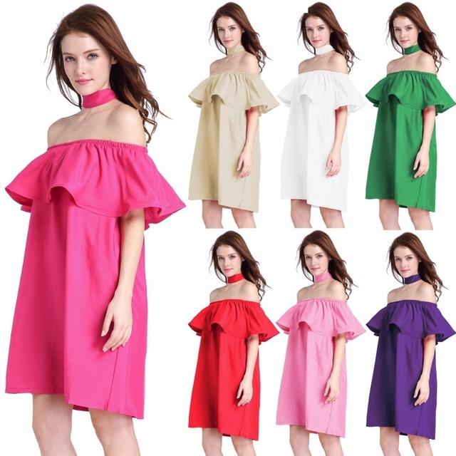 2017 Hotsale New fashion summer dress women Falbala slash short ...