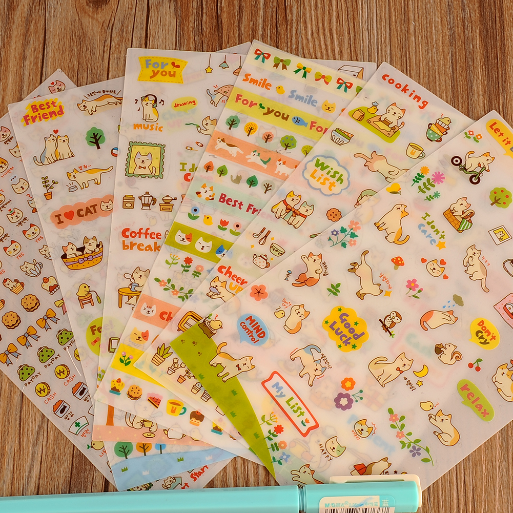 Scrapbook paper and stickers - New Cute Lovely 6 Sheet Cat Paper Stickers For Diary Scrapbook Book Wall Photo Decor Skin Diy Cartoon