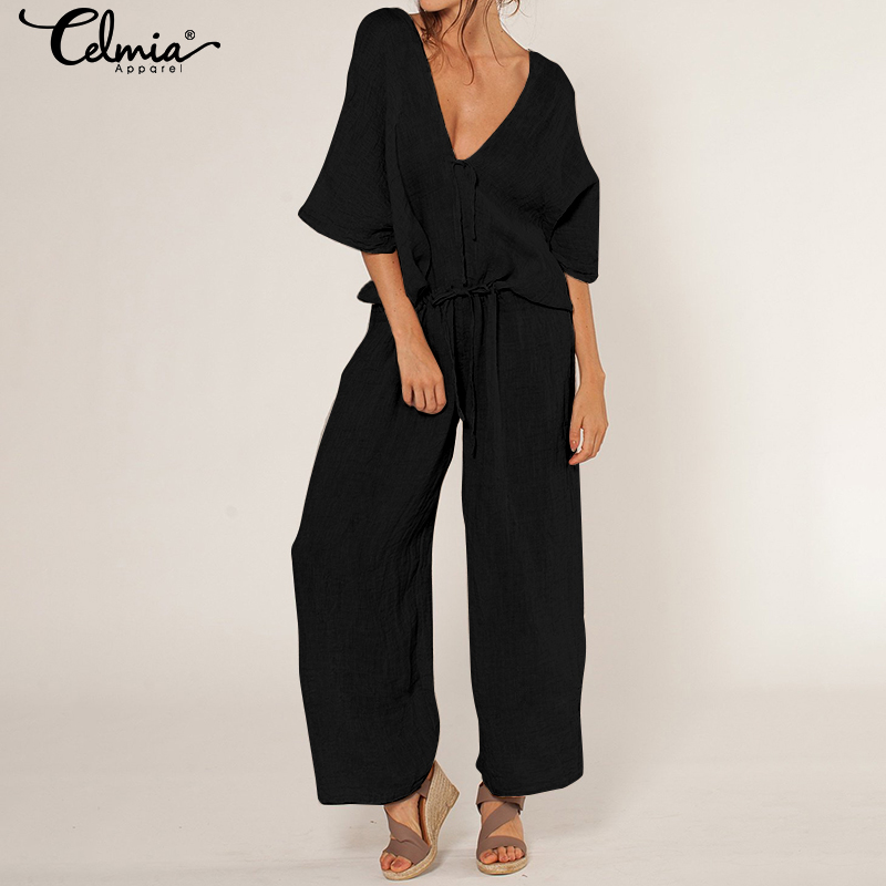Celmia Elegant Solid   Jumpsuit   Summer Black   Jumpsuits   For Women 2019 Sexy V-neck Lace Up Pants Workwear Romper Plus Size Overalls