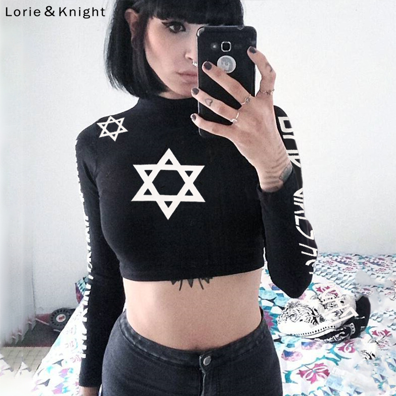 Women's Long Sleeve Black Gothic Punk Rock Crop Top Fitness <font><b>T</b></font>-shirt image