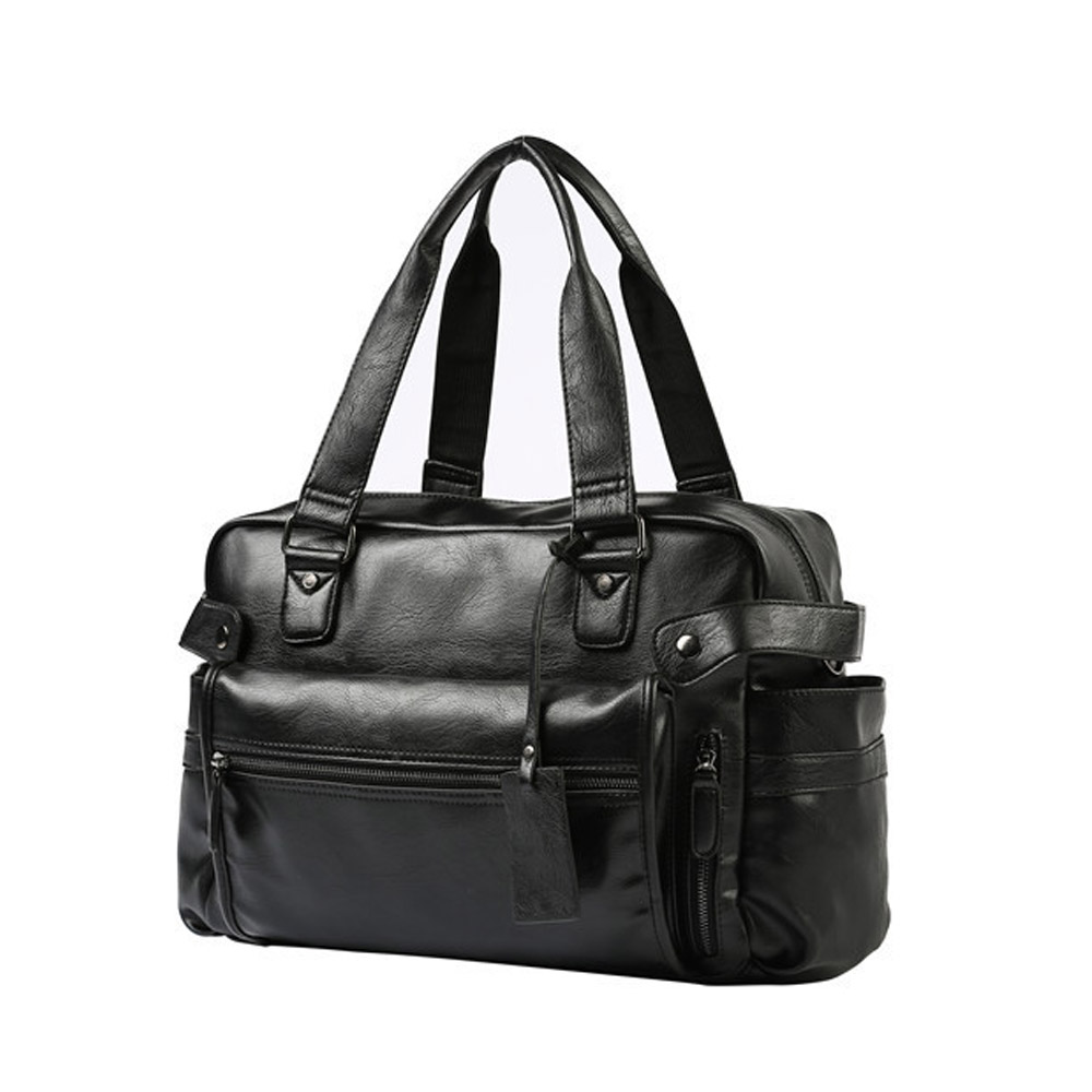 Fasion Men Travel Duffle Bag Mens Travel Bags Black Shoulder Handbag Round Bucket Shape Messenger Bag Tote