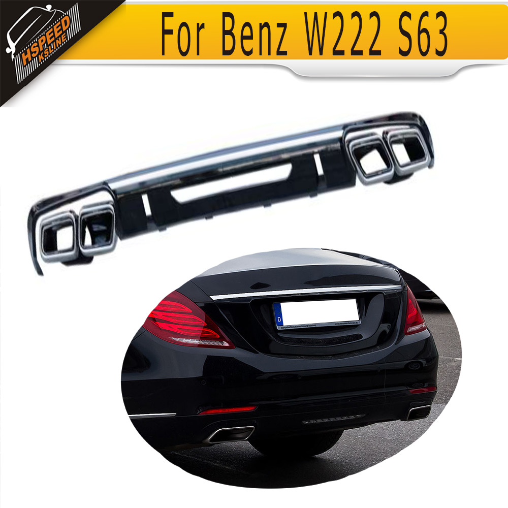 Car-Styling PP Auto Rear Diffuser Lip With Exhaust Tip for Mercedes Benz W222 S63 2014-2015