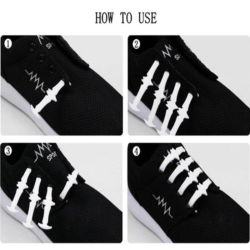 12pcs set Silicone shoelaces Elastic Plastic No Tie shoelace White Black Grey silicone shoes lace Children 39 s Bat Shape Shoelaces in Shoelaces from Shoes