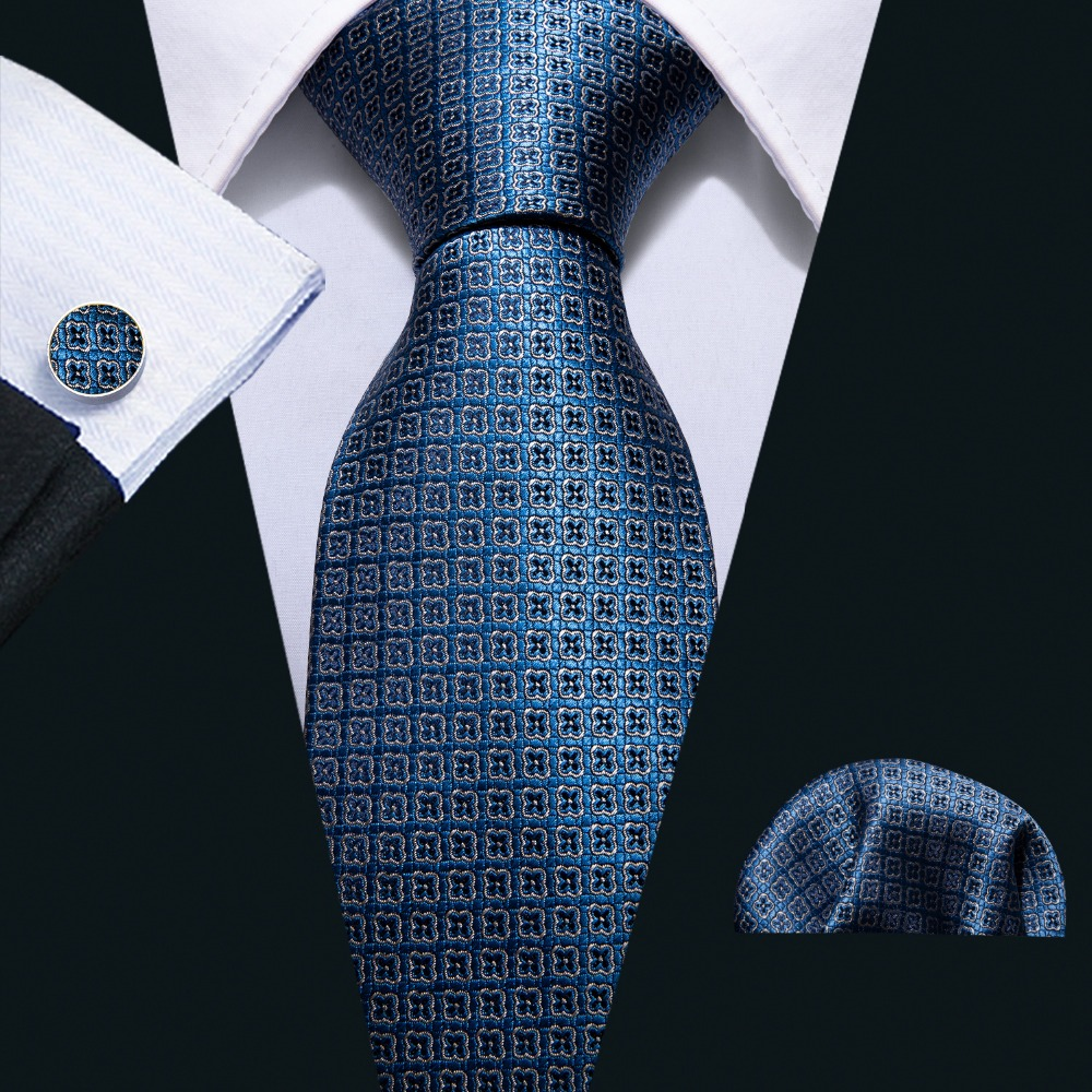 2018 Classic Navy Geometric Pattern 100% Silk Men Tie Barry.Wang 8.5cm Woven Business Necktie Set Dropshipping Men Gift FA-5052