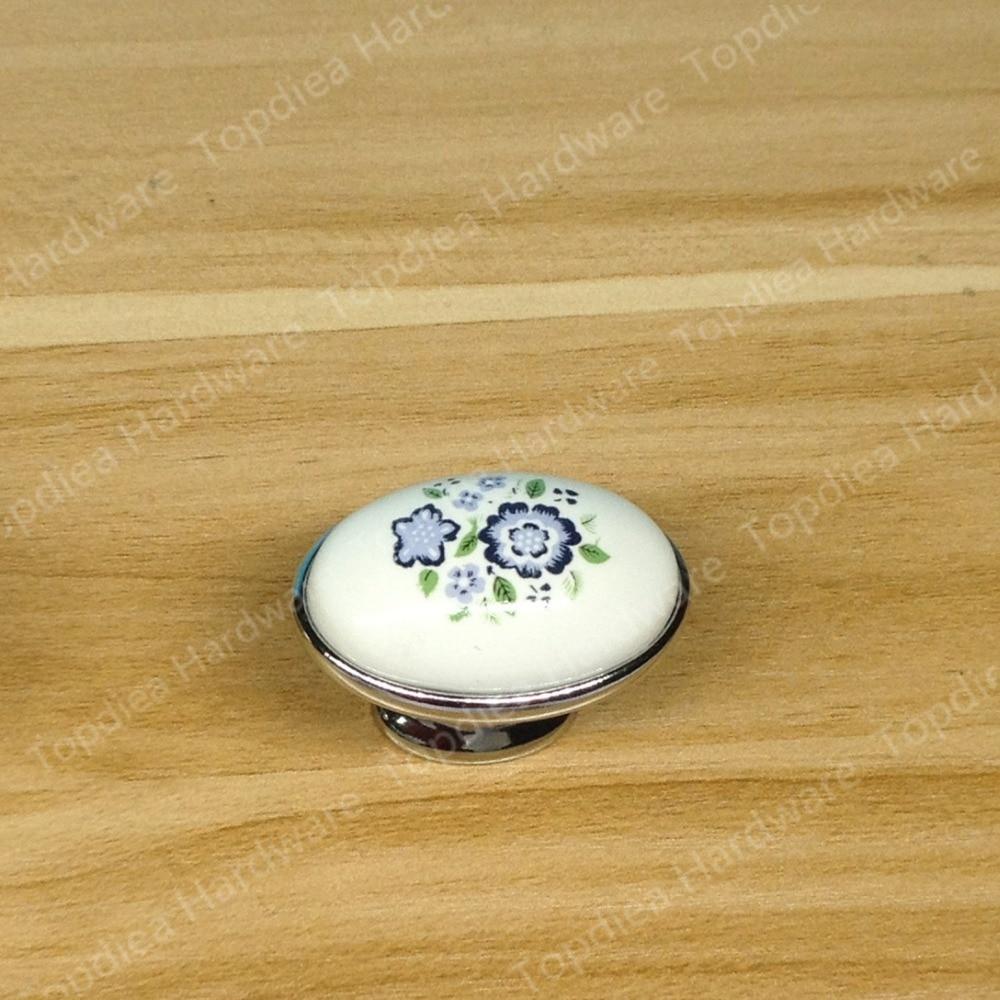 Estilo Rural Ceramica blanca Sola perilla manija de los Muebles del ...