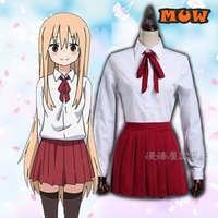[STOCK]2018 Anime Doma Umaru School Uniform Cosplay Costume Shirt+Skirt+Tie+Sock For Halloween Free Shipping Cheap Good Quality