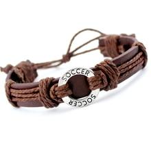 Soccer Football Baseball Softball Volleyball Hockey Gymnastics Tennis Basketball Swim Golf Charm Leather Bracelets Jewelry Gift