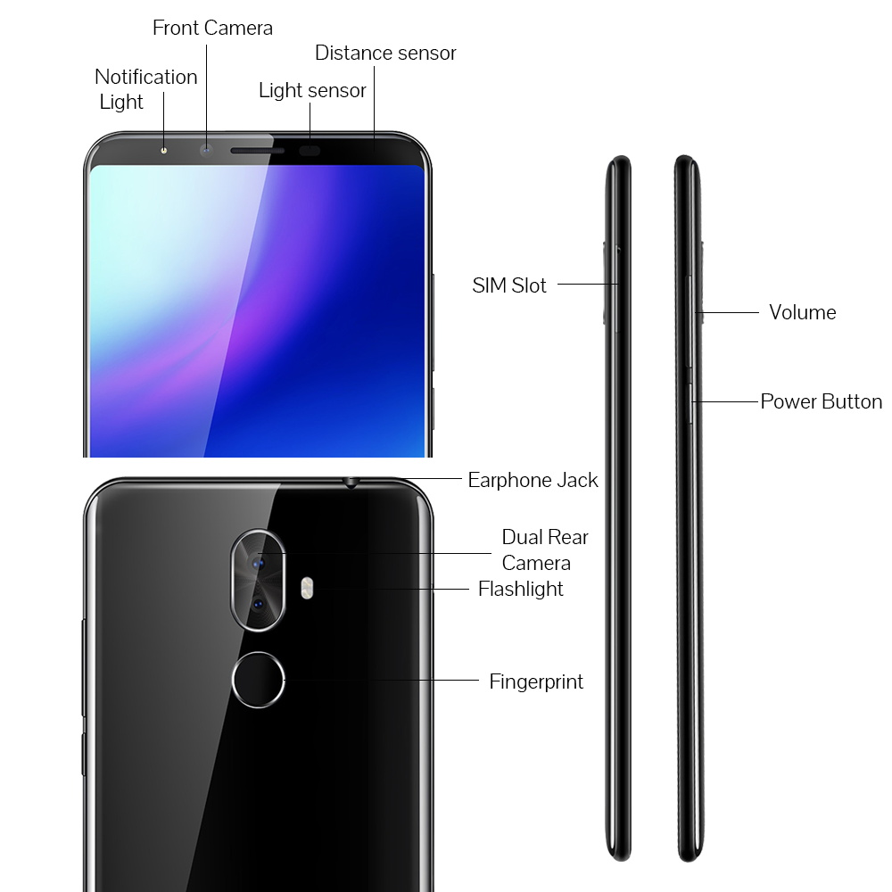 """Image 3 - Cubot X18 Plus Smartphone MT6750T Octa Core 4GB RAM 64GB ROM 5.99"""" 18:9 FHD+Original Android 8.0 4000mAh Rear Dual Camera 4G LTE-in Cellphones from Cellphones & Telecommunications"""