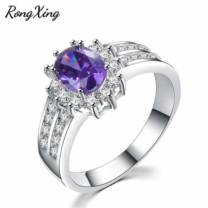 RongXing 925 Sterling Silver Filled Charm Multicolor Birthstone Rings Women Fashion Jewelry Purple/Red/Blue Zircon Ring RW0423