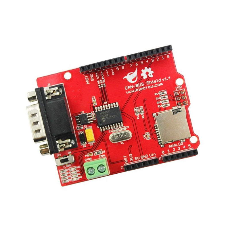 Elecrow CAN-BUS Shield for Arduino Mega Leonardo Microchip MCP2515 CAN Controller Transceiver MicroSD Card DIY GPS Connect image