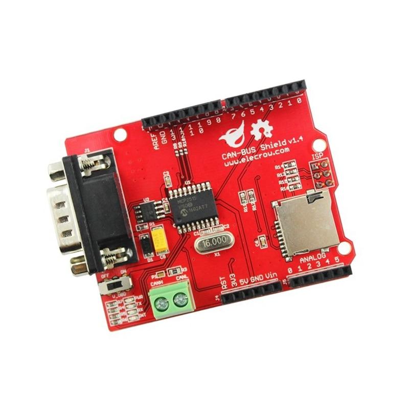 Elecrow KÖNNEN-BUS Schild für Arduino Mega Leonardo Microchip MCP2515 KÖNNEN Controller Transceiver MicroSD Karte DIY GPS Verbinden