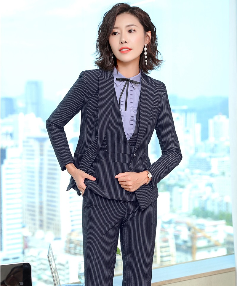 Fashion Striped Autumn And Winter Formal Pantsuits For Women Business Work Wear Blazers Female Pants Suits Ladies Blazers Set