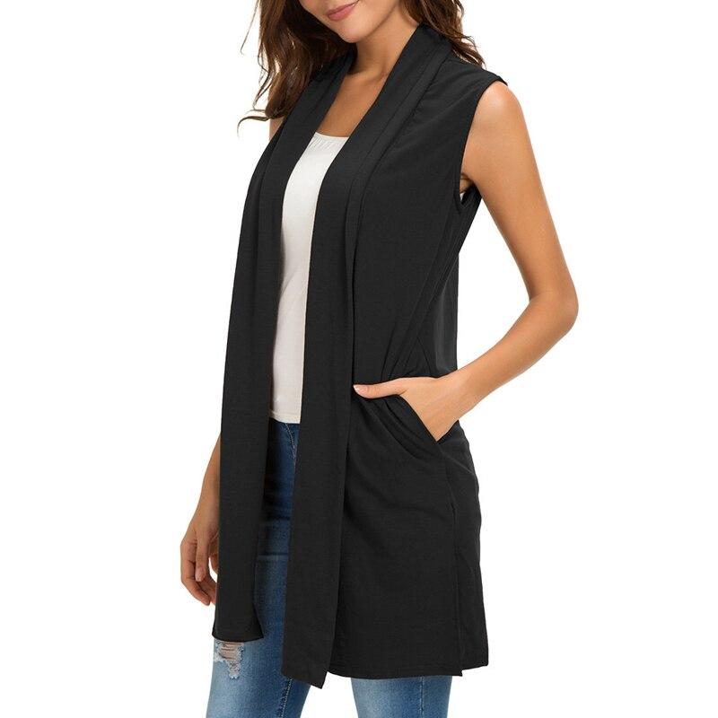 b48e36a2495 Sólido básico cárdigan mujeres chaleco largo más tamaño Otoño Invierno  abierto Chaqueta de punto frontal Streetwear