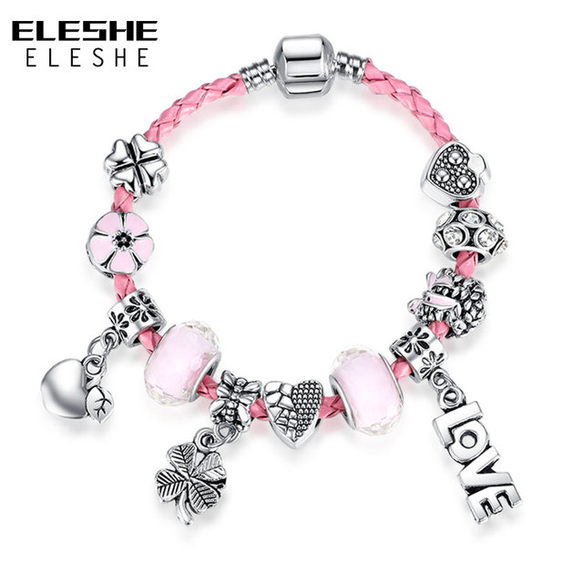ELESHE Cute Genuine Braided Pink Leather Bracelet Bangle with Heart Glass Charms Bracelet for Women Snake Chain Jewelry