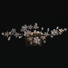 Vintage Gold Flower Wedding Hair Accessories Long Crystal Rhinestones tiara Hair Combs Bridal Hair Stick Women Jewelry Hair Pins