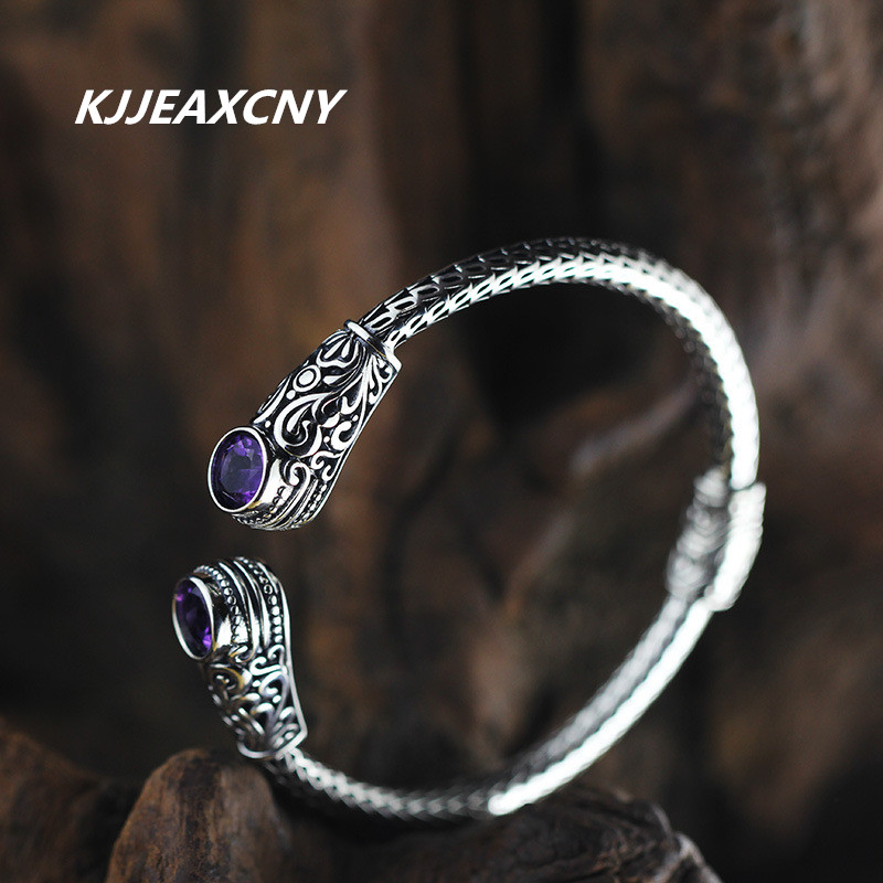 KJJEAXCMY S925 silver jewelry silver handmade Indonesia style lady Topaz Amethyst red agate bracelet hand все цены