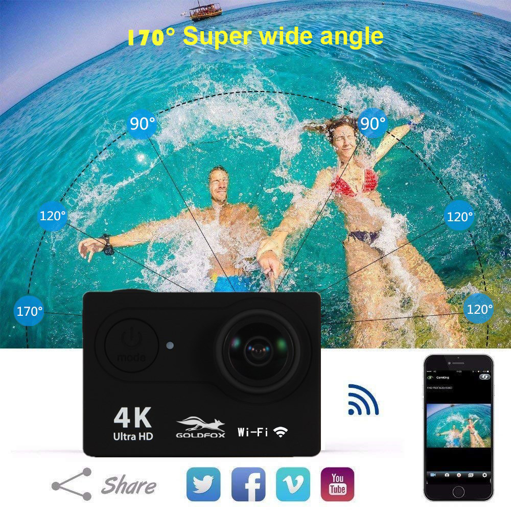 """Image 4 - H9 Action Camera Full HD 4K 25FPS WIFI 2.0"""" Screen Mini Helmet Camera Go Waterproof pro Sports DV Camera Support 32G TF Card-in Sports & Action Video Camera from Consumer Electronics"""