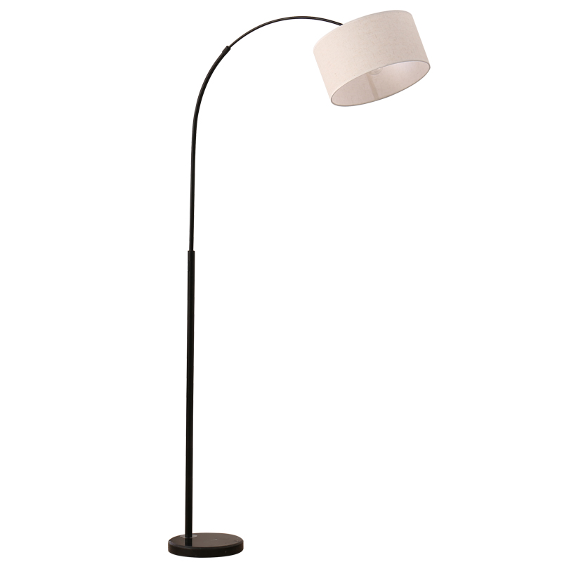 Nordic LED floor lamp bedroom sitting room study fishing lamp white black lampshade creative modern upright lamp standing lamp