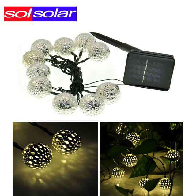 New 10LED Moroccan Solar String Lanterns Warm white LED Fairy Lights Garden Party Christmas Decoration Ball Lamp Free Shipping