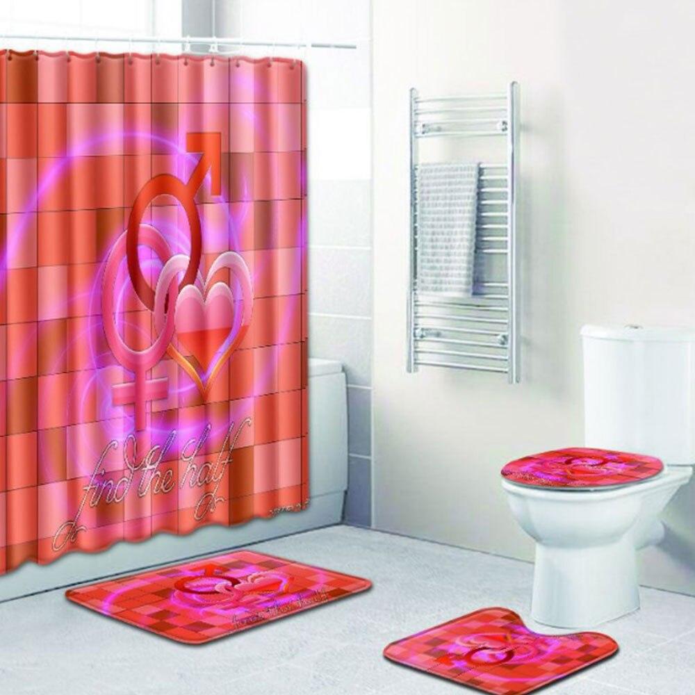 Шторы коврик для ванной комнаты красивый полиэстер 4 шт./компл. любовь Свадебная дорожка зимняя крышка для унитаза противоскользящая Прямая