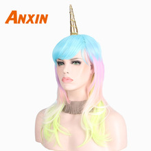 Anxin Long Curly Unicorn Wig Rainbow Color With Bangs For Women Cosplay Anime