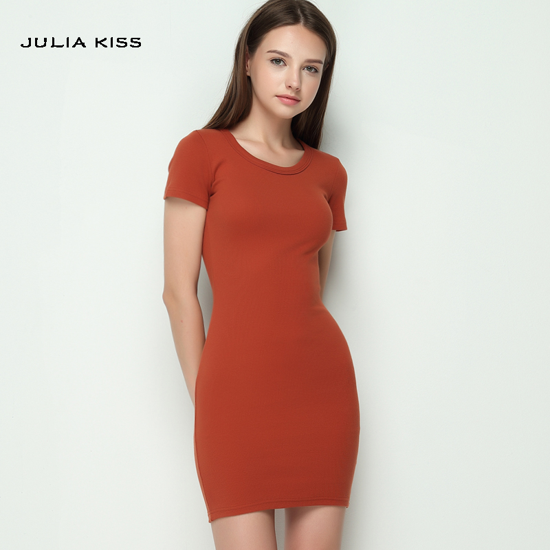 Basic Style Women Casual Knitting O-neck Pullover Slim One-piece Dress Knitted Dress Female