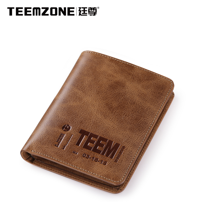 Man Wallet Teemzone Mens Wallet Leather Genuine Men Purse Vintage Brown Cowhide Credit Card Holder Brand Men's Wallets padieoe brand 2017 new men wallet genuine leather cowhide purse credit card wallet large capacity men s wallet free shipping