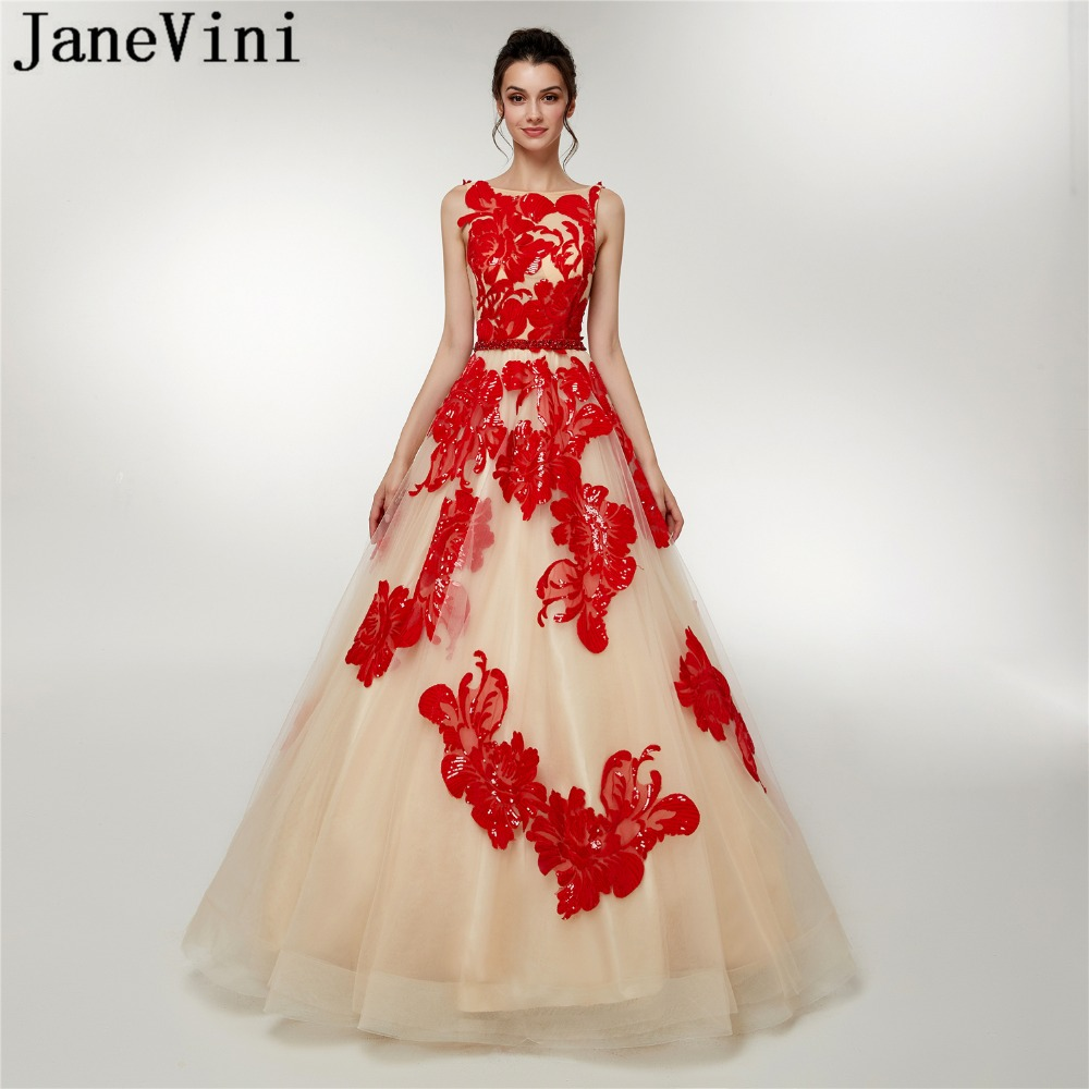 JaneVini Charming Ball Gown Long   Bridesmaid     Dresses   with Sequined Beaded Backless Pageant Tulle Formal Prom Gowns Floor Length