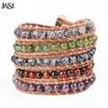 JINSE Genuine Leather Jewelry Top Quality 5 Layered Mixed Natural Stones Beaded Leather Bracelet Beaded Bangle Bracelet WPB196