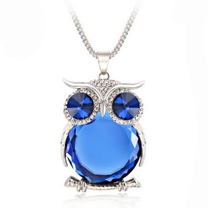 2017 new Trendy Owl Necklace Fashion Rhinestone Crystal Jewelry Statement Women Necklace Silver Chain Long Necklaces & Pendants